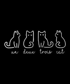 Cute Abstract Un Deux Trois Cat French Kitty T Shirt