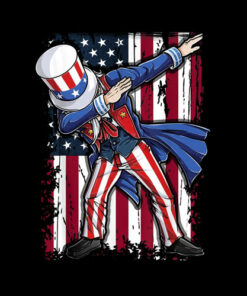 Dabbing Uncle Sam T shirt 4th of July Men Kids Boys Gifts