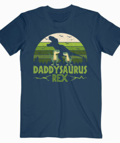 Daddysaurus Rex 2 Kids Sunset For Fathers Day Gift T Shirt