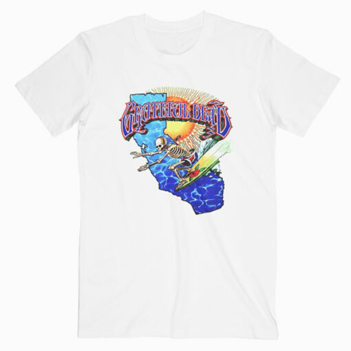 Grateful Dead Surfing Skeleton Vintage 1986 Band T Shirt