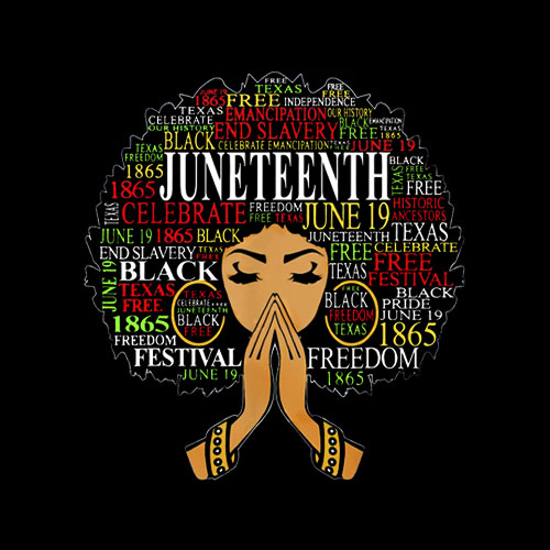 Juneteenth Melanin Black Women Natural Hair Afro Word Art T-Shirt
