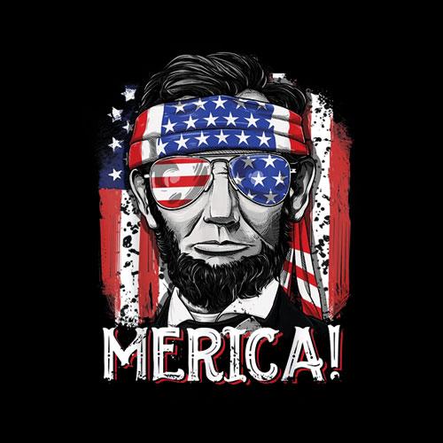 Lincoln 4th of July Boys Kids Men Merica American Flag Gifts T-Shirt