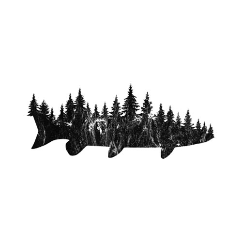 Musky Pine Forest Treeline Outdoor Fishing Angler T-Shirt