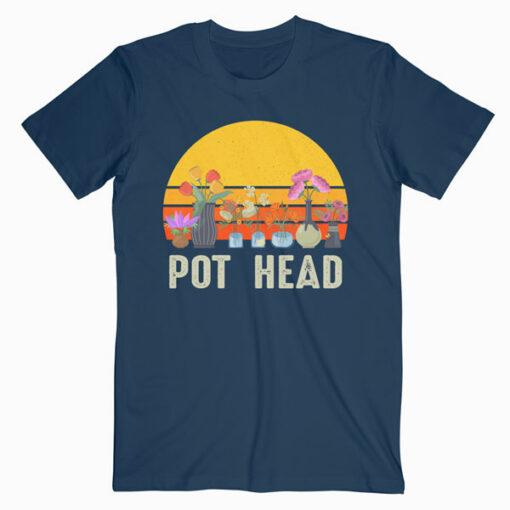 Pot Head Stone Flowers Vintage Retro Sunset T Shirt