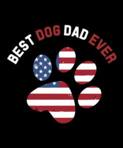 Best Dog Dad Ever American Flag T-Shirt Gift for Best Father