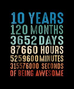 10 Years Old 10th Birthday Vintage Retro 120 Months Tshirt