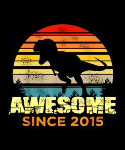 5th Birthday Dinosaur 5 Year Old Boy Awesome Since 2015 Gift T-Shirt