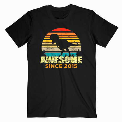 5th Birthday Dinosaur 5 Year Old Boy Awesome Since 2015 Gift T-Shirt