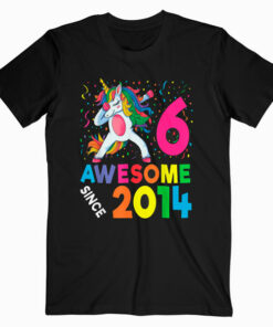 6th Birthday Dabbing Unicorn Party Gift For 6 Years Old Girl T Shirt