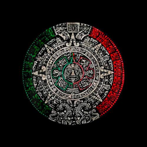 Aztec Calendar Sun Stone Mexican Art Carving Maya Mayans T Shirt