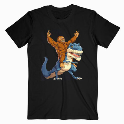 Bigfoot Sasquatch Riding Dinosaur T rex T shirt
