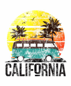 California Retro Surf Vintage Van Surfer Surfing Distressed T-Shirt