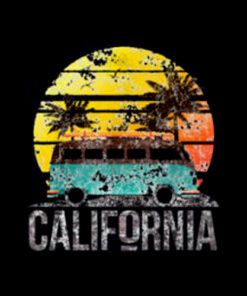 California Retro Surf Vintage Van Surfer Surfing T Shirt
