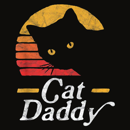Cat Daddy Vintage Eighties Style Cat Retro Distressed T Shirt