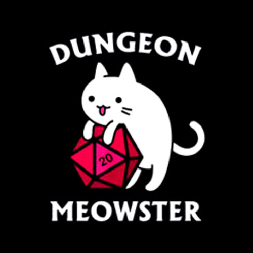 Dungeon Meowster Funny Nerdy Gamer Cat D20 RPG T Shirt