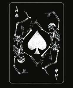 Goth Punk Ace Of Spades Card Shark Gambler Skeleton T Shirt