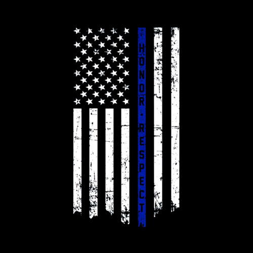 Honor & Respect Police Officer Thin Blue Line Flag T-shirt