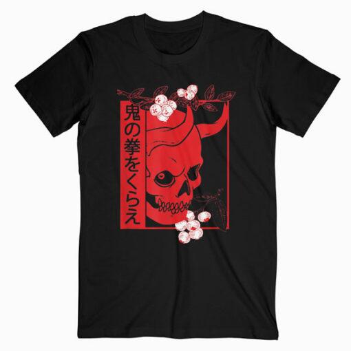 Japanese demon art face Skull devil oni harajuku aesthetic T-Shirt