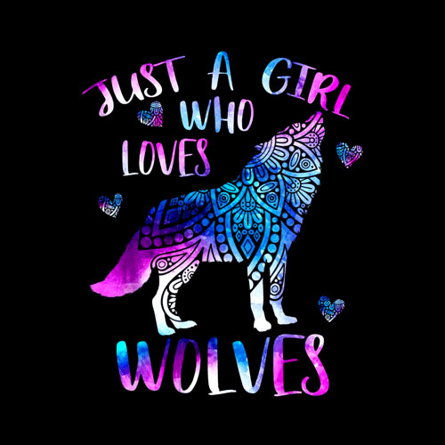 Just a Girl Who Loves Wolves Watercolor Wolf Ornament Gift T-Shirt