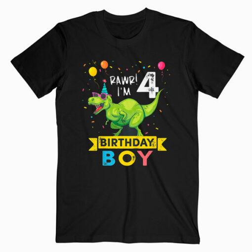 Kids 4 Year Old Shirt 4th Birthday Boy T Rex Dinosaur T Shirt