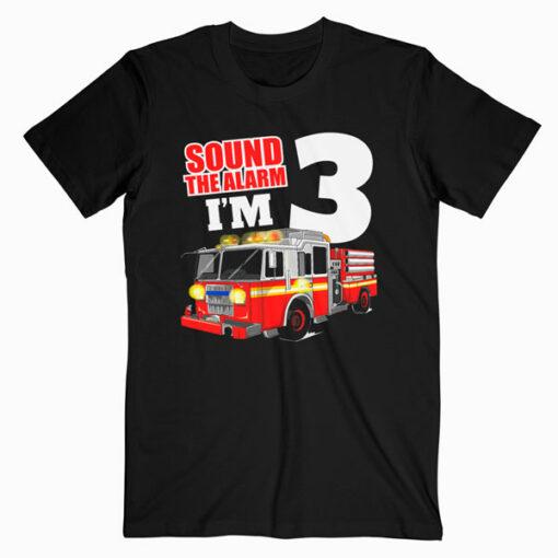 Kids Fire Truck 3rd Birthday T Shirt