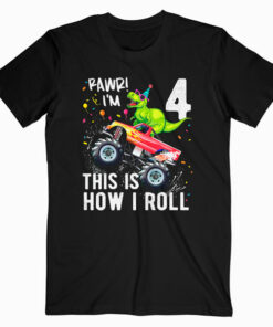 Kids T Rex Dinosaur Monster Truck 4th Birthday Boys and Girls T Shirt