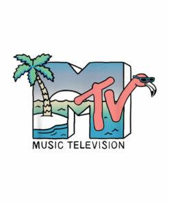 MTV Beach Island Flamingo Logo Vintage Graphic T-Shirt