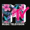 MTV Hummingbird and Tropical Flower Logo Fill Graphic T-Shirt