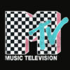 MTV Neon Distressed Checkered Logo Graphic T Shirt