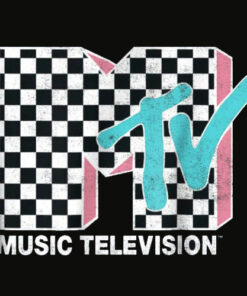 MTV Neon Distressed Checkered Logo Graphic T Shirt