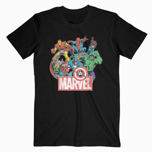 Marvel Avengers Team Retro Comic Vintage Graphic T Shirt