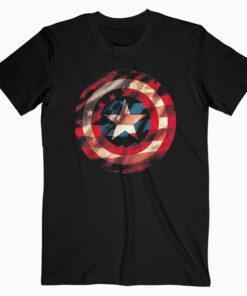 Marvel Captain America Avengers Shield Flag Graphic T Shirt