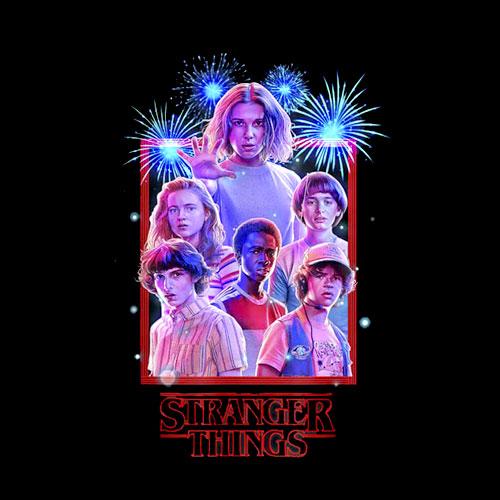 Netflix Stranger Things Group Shot Fireworks Poster T Shirt