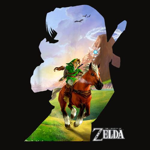 Nintendo Zelda Link Epona Ride Silhouette Graphic T Shirt