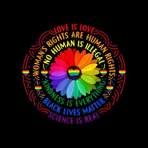 Rainbow Black Lives Matter Science LGBT Pride Flower T-Shirt