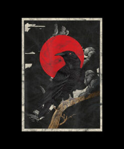 Red Moon Raven Graphic Black Crow T-Shirt