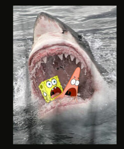 Spongebob SquarePants Shark Attack Humorous T Shirt