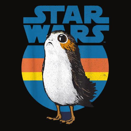 Star Wars Last Jedi Porg Retro Stripes Logo Graphic T Shirt
