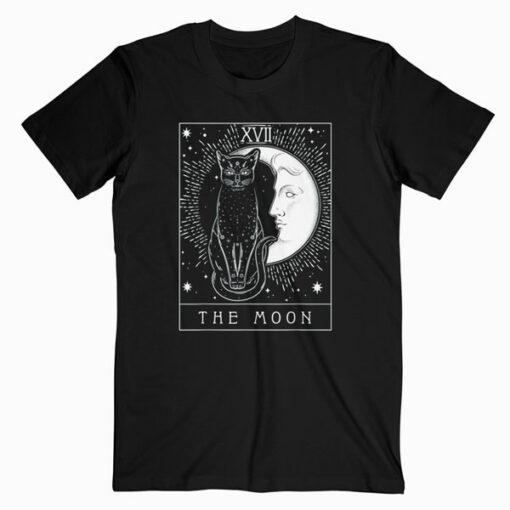 Tarot Card Crescent Moon And Cat Graphic T-Shirt