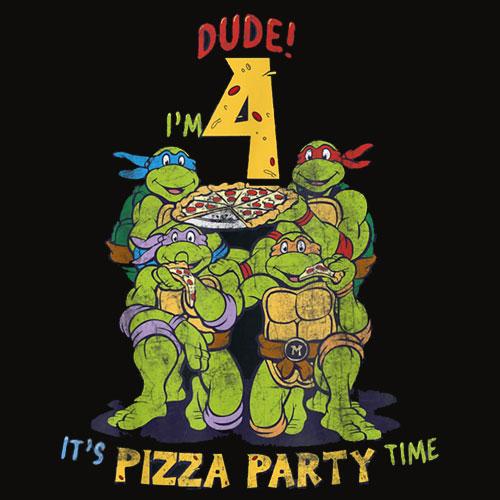Teenage Mutant Ninja Turtles I'm 4 Dude Pizza Birthday Party T Shirt