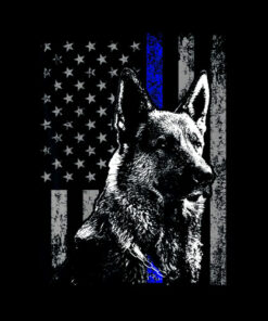Thin Blue Line Flag K-9 German Shepherd Police Dog Gift Men T-Shirt