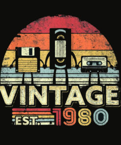 1980 Shirt Vintage 40th Birthday Gift Funny Music Tech T Shirt