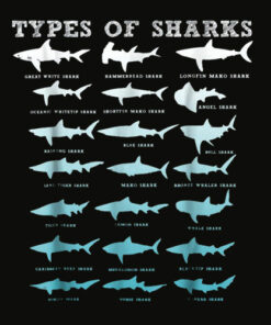 21 Types of Sharks Marine Biology T Shirt