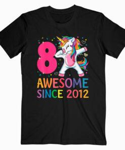 8 Years Old 8th Birthday Unicorn Dabbing Shirt