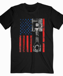 American Flag Piston Muscle Car Patriotic Vintage T Shirt