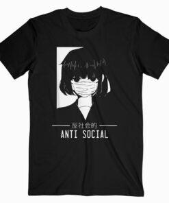 Anti Social Japanese Text Aesthetic Vaporwave Anime Gift T Shirt