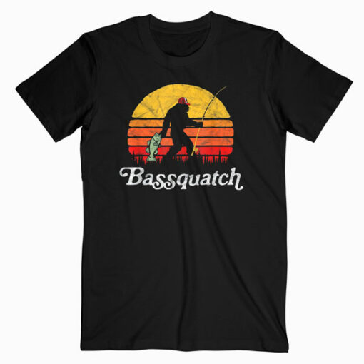 Bassquatch Funny Bigfoot Fishing Outdoor Retro T Shirt