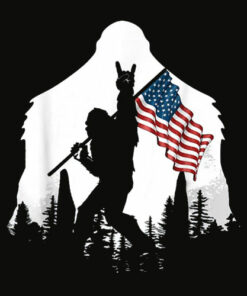 Bigfoot Victorty sign Peace USA Flag in the forest camping T Shirt