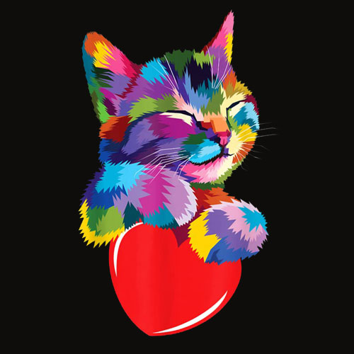 Cute Cat Gift for kitten lovers Colorful Art Kitty Adoption T Shirt