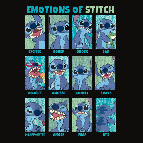 Disney Lilo and Stitch Emotions Of Stitch Panels T Shirt